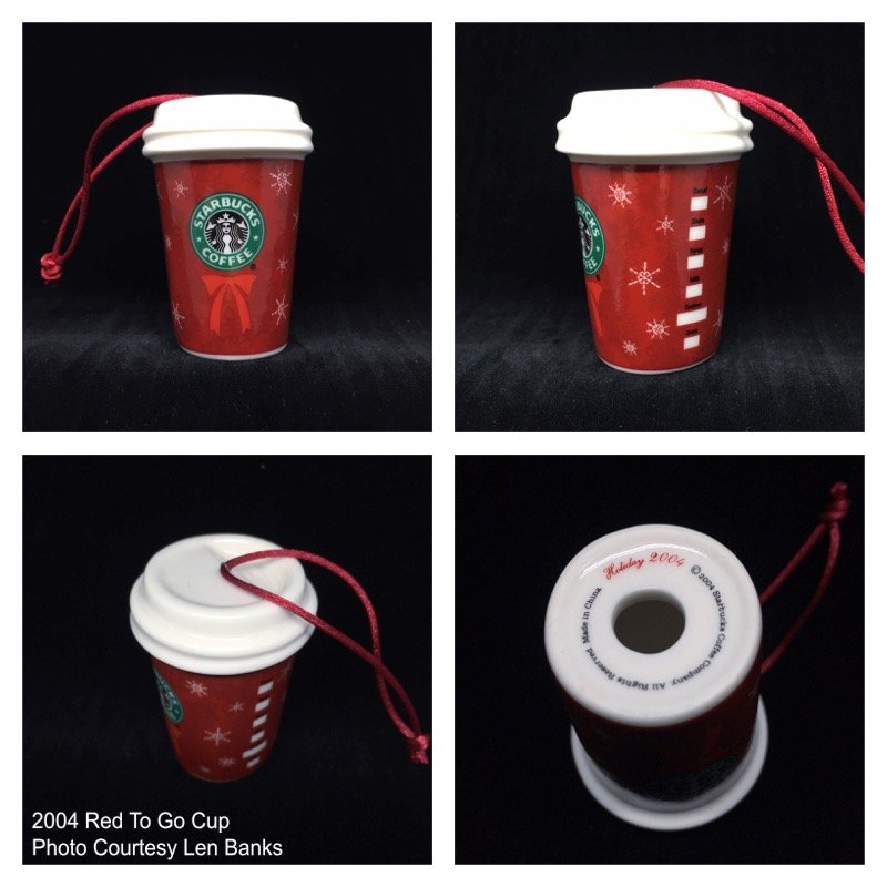 2004 Red To Go Cup (Snowflakes and Logo Wreath) Image