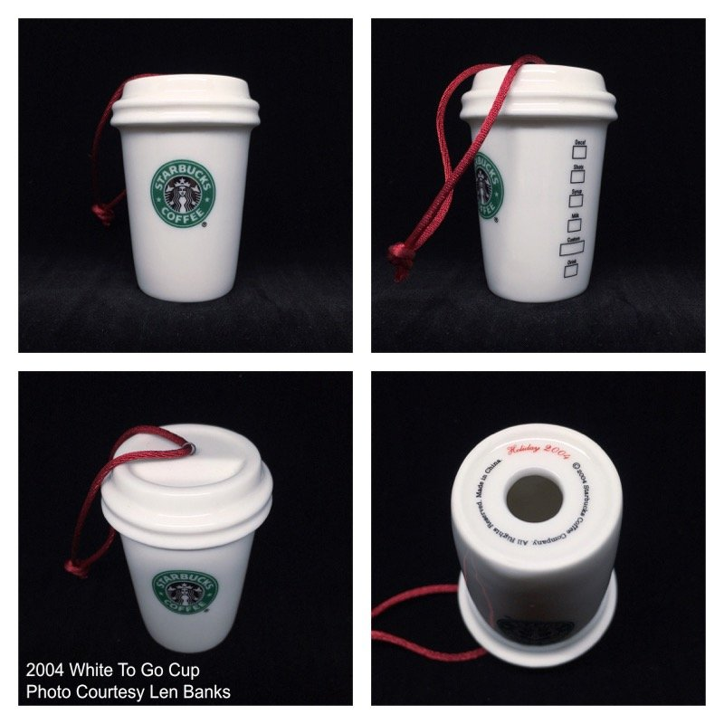 2004 White To Go Cup (old green logo/red cord) Image