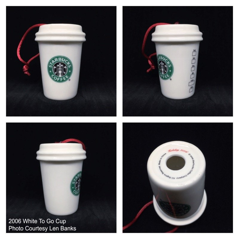 2006 White To Go Cup (old green logo/red cord) Image
