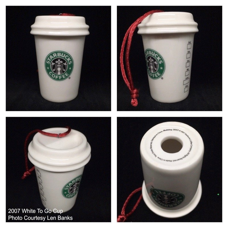 2007 White To Go Cup (old green logo/red cord) Image