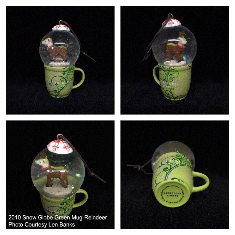 2010 Snow Globe Green Mug-Reindeer Image