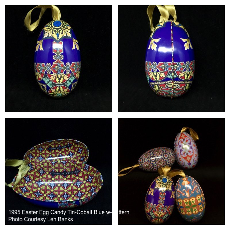 1995 Easter Egg Candy Tin-Cobalt Blue w/Pattern Image