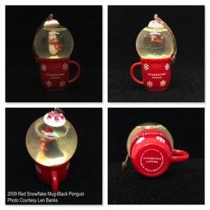 2009 Snow Globe Red Mug-Black Penguin Image