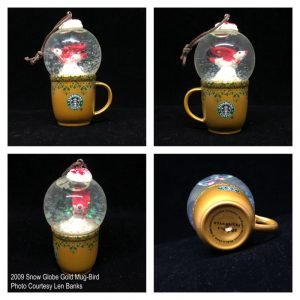 2009 Snow Globe Gold Mug-Bird Image