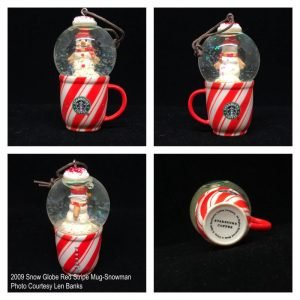 2009 Snow Globe Red Stripe Mug-Snowman Image